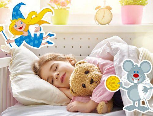 Bambina che dorme e topino con dente